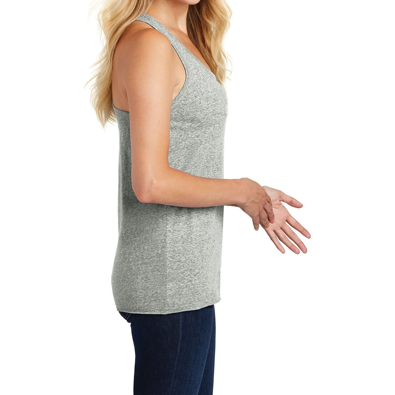 Ladies Cosmic Twist Back Tank Grey Astro - Side