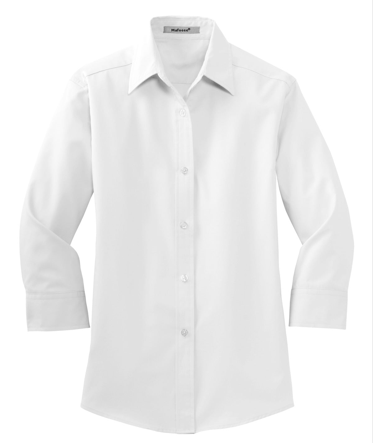 Mafoose Women's 3/4-Sleeve Traditional Easy Care Shirt White-Front
