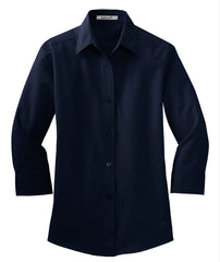 Mafoose Women's 3/4-Sleeve Traditional Easy Care Shirt Navy-Front