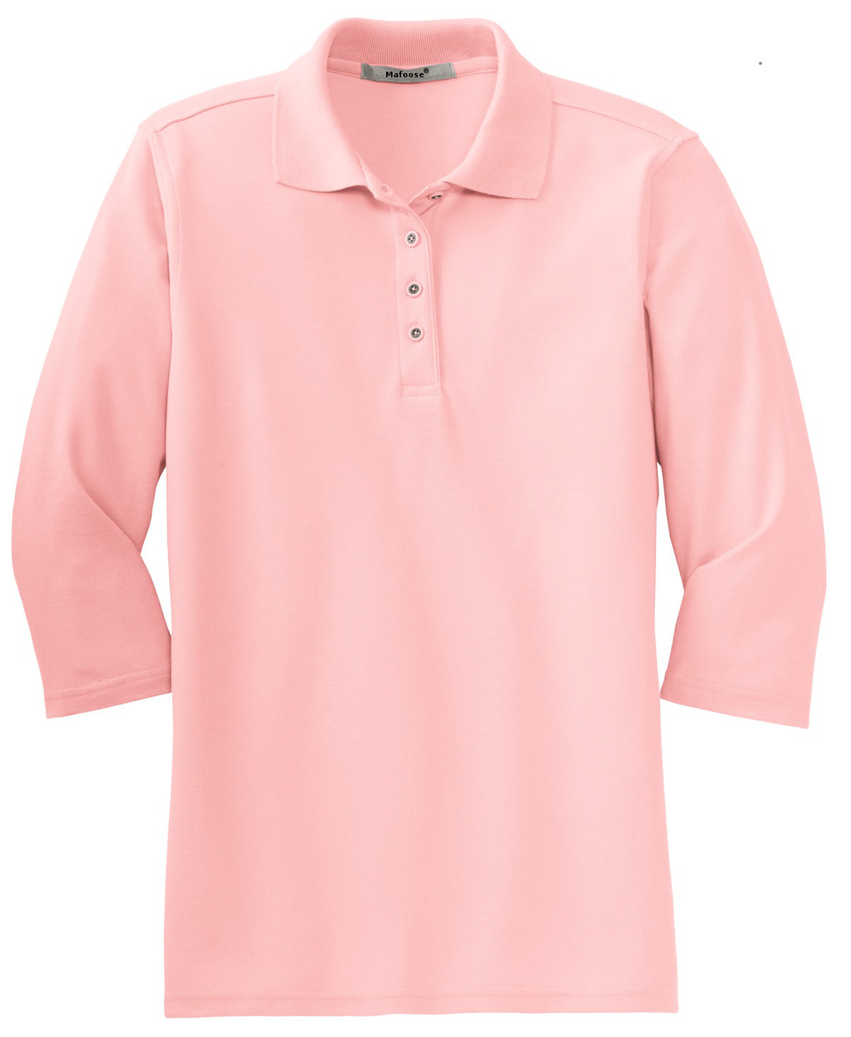 Mafoose Women's Silk Touch ¾ Sleeve Polo Shirt Light Pink-Front