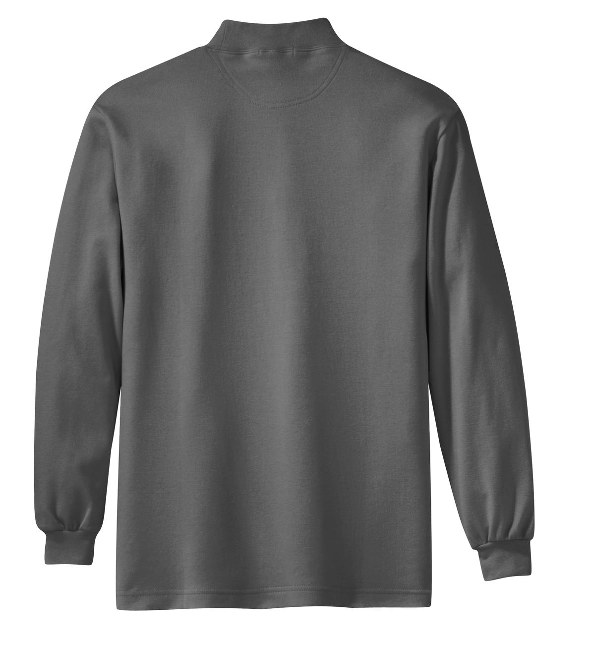 Mafoose Men's Interlock Knit Mock Turtleneck Sweaters Steel Grey-Back