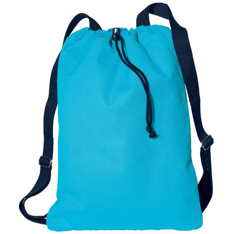 Mafoose Soft Cotton Drawcord Toggle Cinch Pack Turquoise/Navy