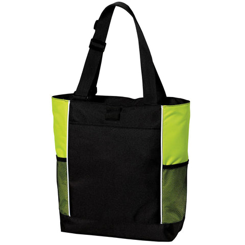 Mafoose Panel Tote Bag Black/ Bright Lime
