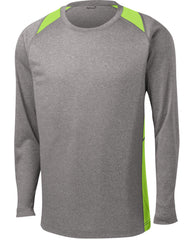 Mafoose Men's Long Sleeve Heather Colorblock Contender Tee Shirt Vintage Heather/ Lime Shock-Front