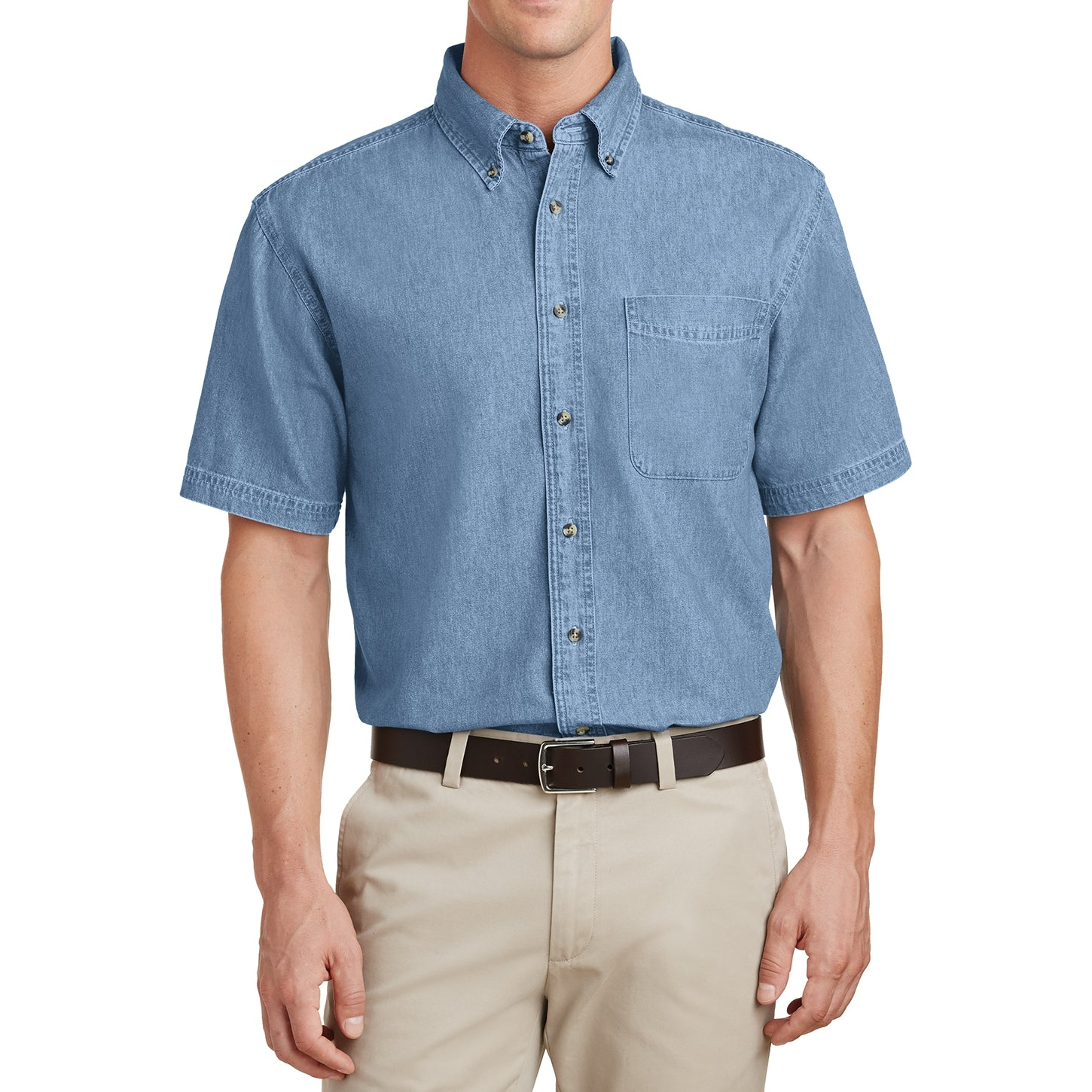 Mafoose Men's Short Sleeve Value Denim Shirt Faded Blue-Front