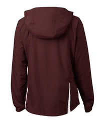 Mafoose Women's Colorblock Hooded Raglan Jacket Maroon/White-Back