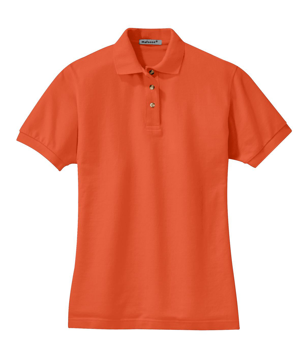 Mafoose Women's Heavyweight Cotton Pique Polo Shirt Orange-Front