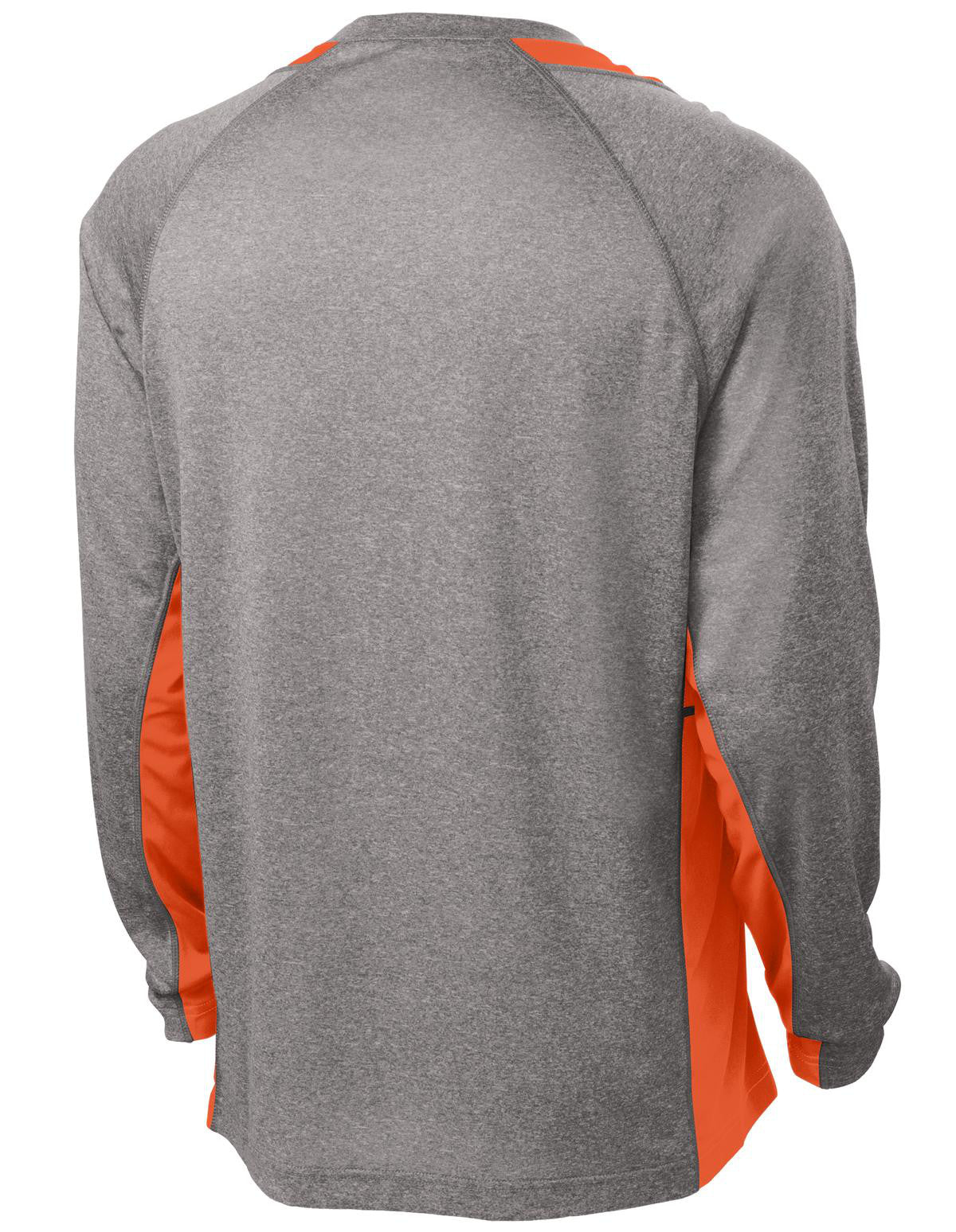 Mafoose Men's Long Sleeve Heather Colorblock Contender Tee Shirt Vintage Heather/ Deep Orange-Back