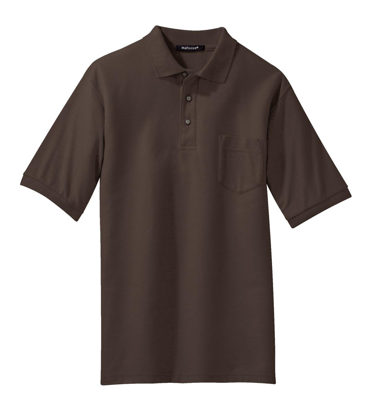 Mafoose Men's Silk Touch Polo with Pocket Coffee Bean-Front