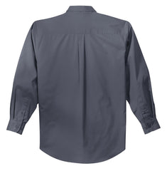 Mafoose Men's Tall Long Sleeve Easy Care Shirt Steel Grey/ Light Stone-Back