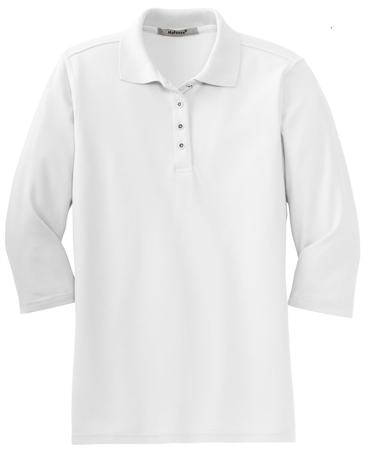 Mafoose Women's Silk Touch ¾ Sleeve Polo Shirt White-Front