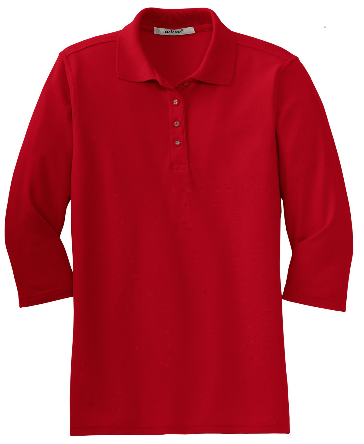 Mafoose Women's Silk Touch ¾ Sleeve Polo Shirt Red-Front