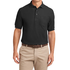 Mafoose Men's Silk Touch Polo with Pocket Black-Front