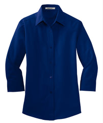 Mafoose Women's 3/4-Sleeve Traditional Easy Care Shirt Mediterranean Blue-Front