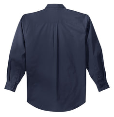 Mafoose Men's Tall Long Sleeve Easy Care Shirt Navy/ Light Stone-Back