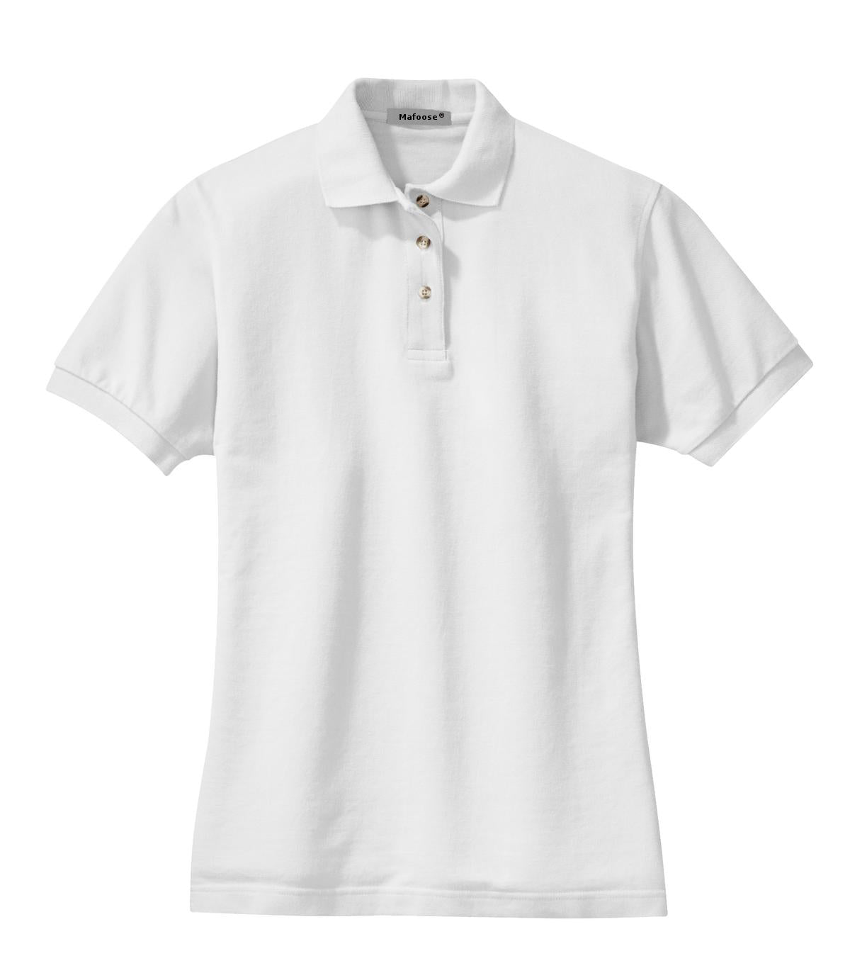 Mafoose Women's Heavyweight Cotton Pique Polo Shirt White-Front