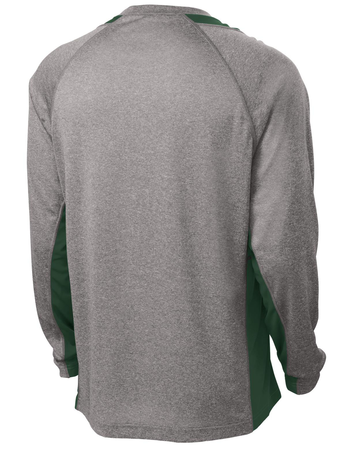 Mafoose Men's Long Sleeve Heather Colorblock Contender Tee Shirt Vintage Heather/ Forest Green-Back