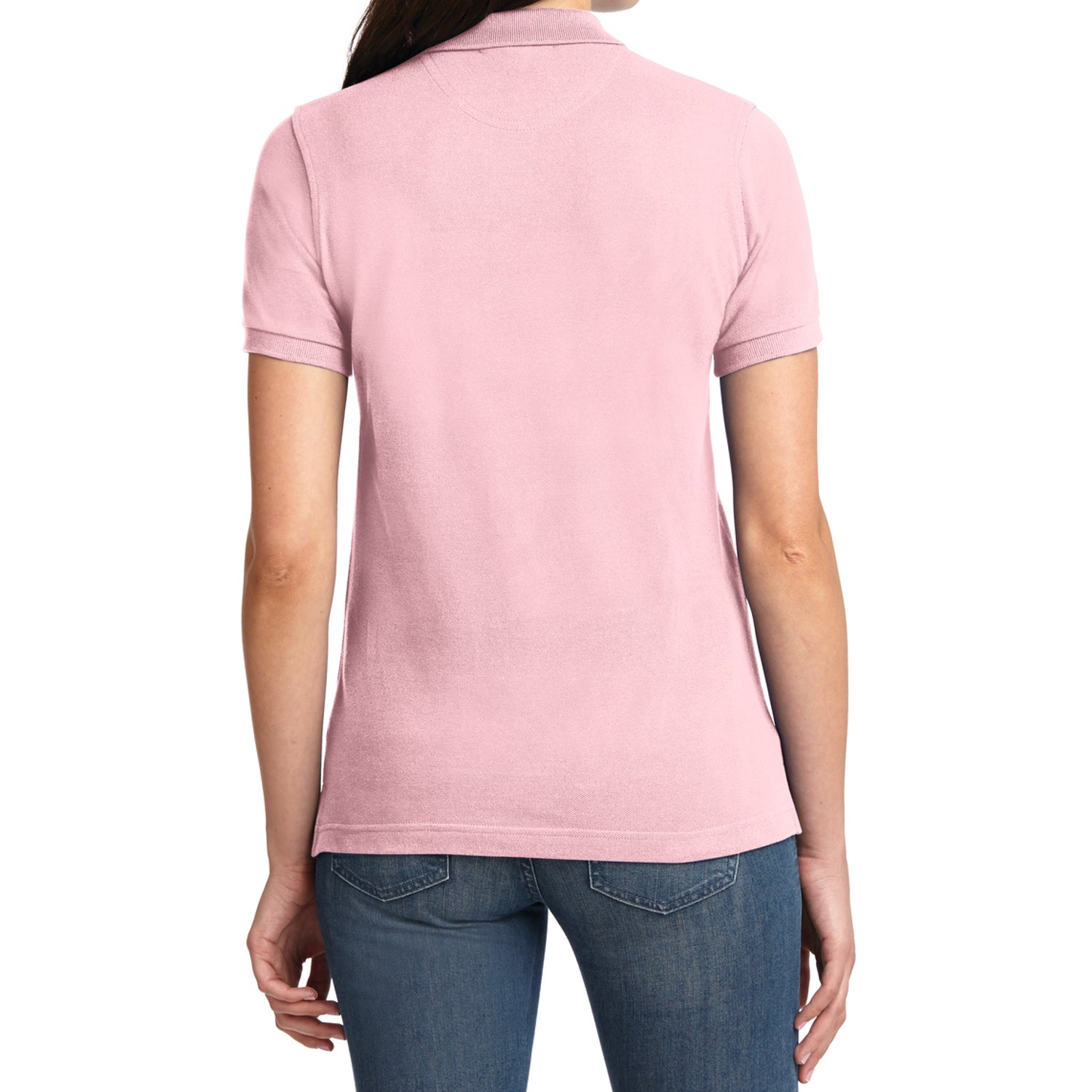 Mafoose Women's Heavyweight Cotton Pique Polo Shirt Light Pink-Back