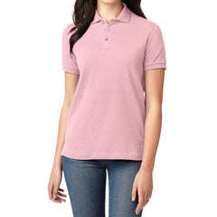 Mafoose Women's Heavyweight Cotton Pique Polo Shirt Light Pink-Front