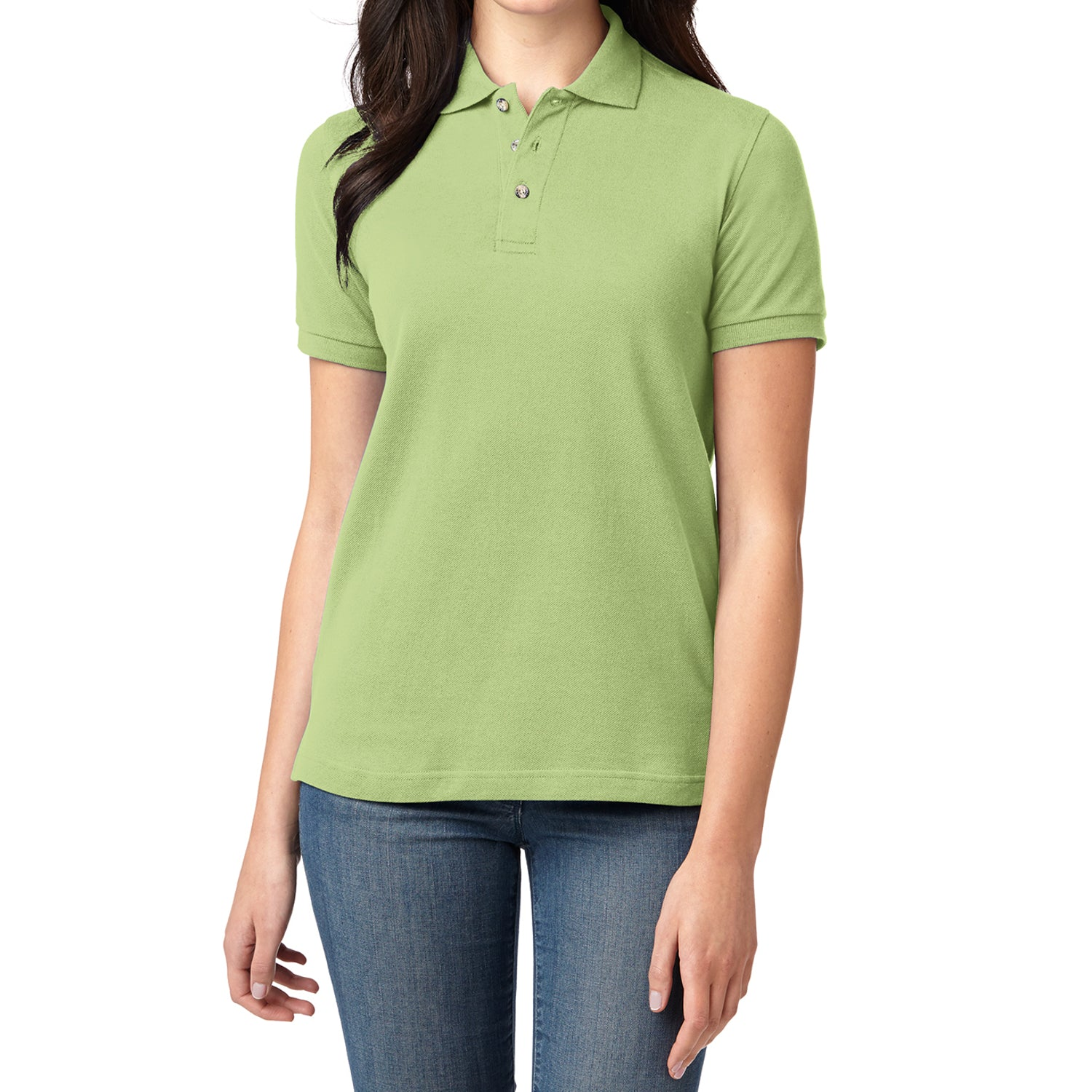Mafoose Women's Heavyweight Cotton Pique Polo Shirt Pistachio-Front
