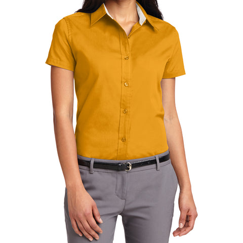 Mafoose Women's Comfortable Short Sleeve Easy Care Shirt Athletic Gold/Light Stone-Front