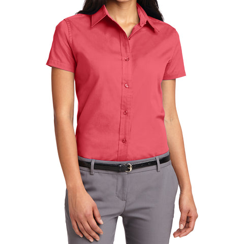 Mafoose Women's Comfortable Short Sleeve Easy Care Shirt Hibiscus-Front