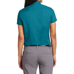 Mafoose Women's Comfortable Short Sleeve Easy Care Shirt Teal Green-Back