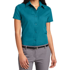 Mafoose Women's Comfortable Short Sleeve Easy Care Shirt Teal Green-Front
