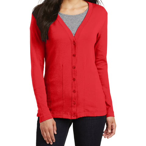 Mafoose Women's Stretch Cotton Cardigan Scarlet Red-Front