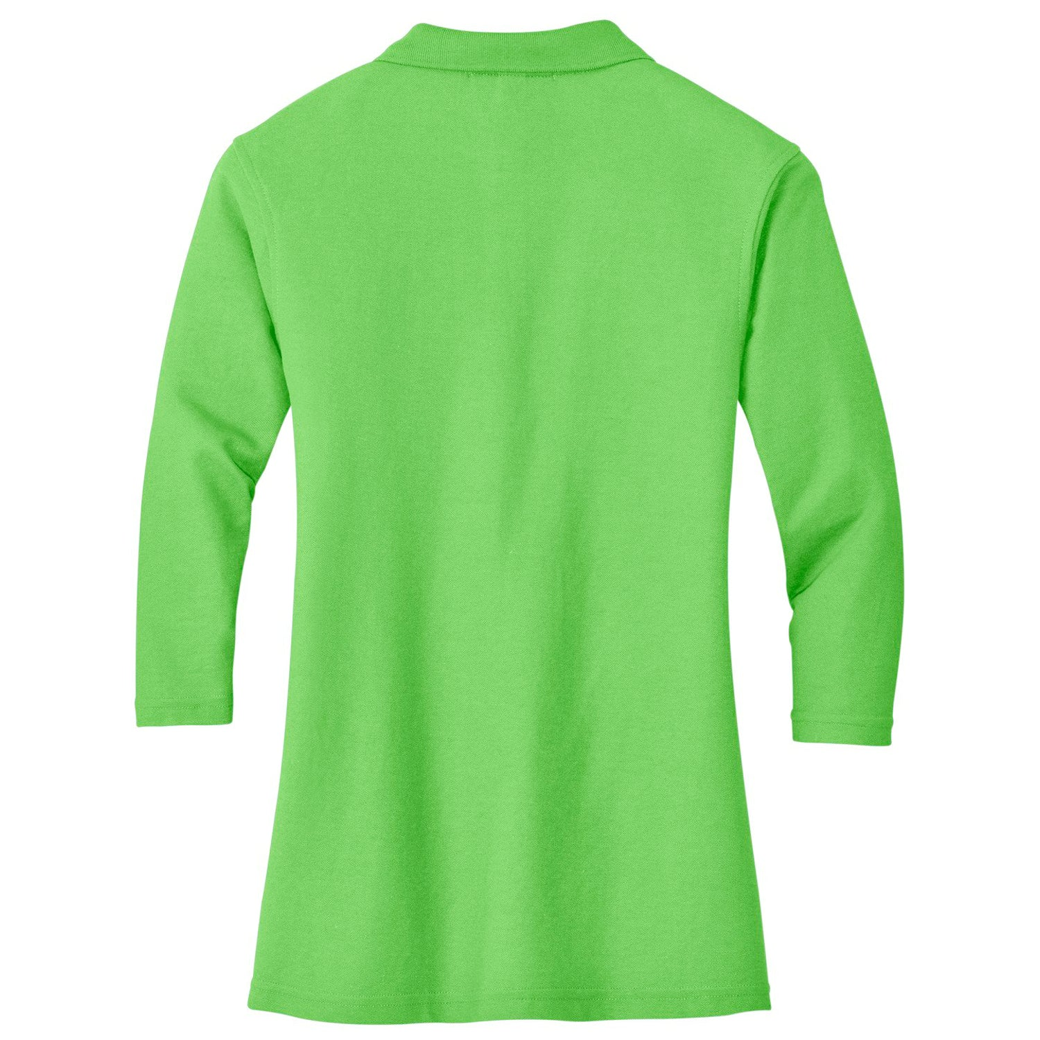 Mafoose Women's Silk Touch ¾ Sleeve Polo Shirt Lime-Back