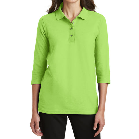 Mafoose Women's Silk Touch ¾ Sleeve Polo Shirt Lime-Front