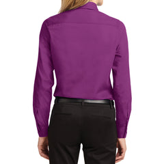 Mafoose Women's Long Sleeve Easy Care Shirt Deep Berry-Back