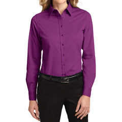 Mafoose Women's Long Sleeve Easy Care Shirt Deep Berry-Front