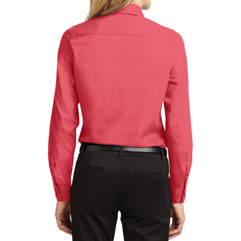 Mafoose Women's Long Sleeve Easy Care Shirt Hibiscus-Back