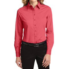 Mafoose Women's Long Sleeve Easy Care Shirt Hibiscus-Front