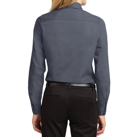 Mafoose Women's Long Sleeve Easy Care Shirt Steel Grey/Light Stone-Back