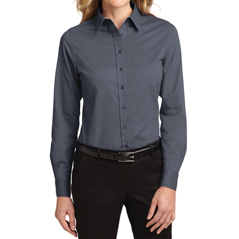 Mafoose Women's Long Sleeve Easy Care Shirt Steel Grey/Light Stone-Front