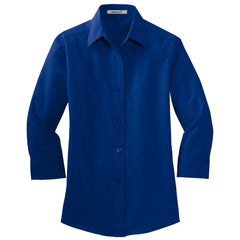 Mafoose Women's 3/4-Sleeve Traditional Easy Care Shirt Royal-Front
