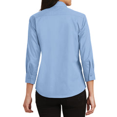 Mafoose Women's 3/4-Sleeve Traditional Easy Care Shirt Light Blue-Back