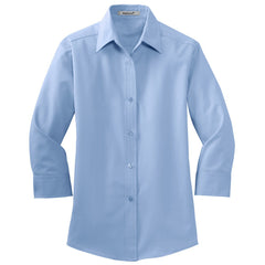 Mafoose Women's 3/4-Sleeve Traditional Easy Care Shirt Light Blue-Front
