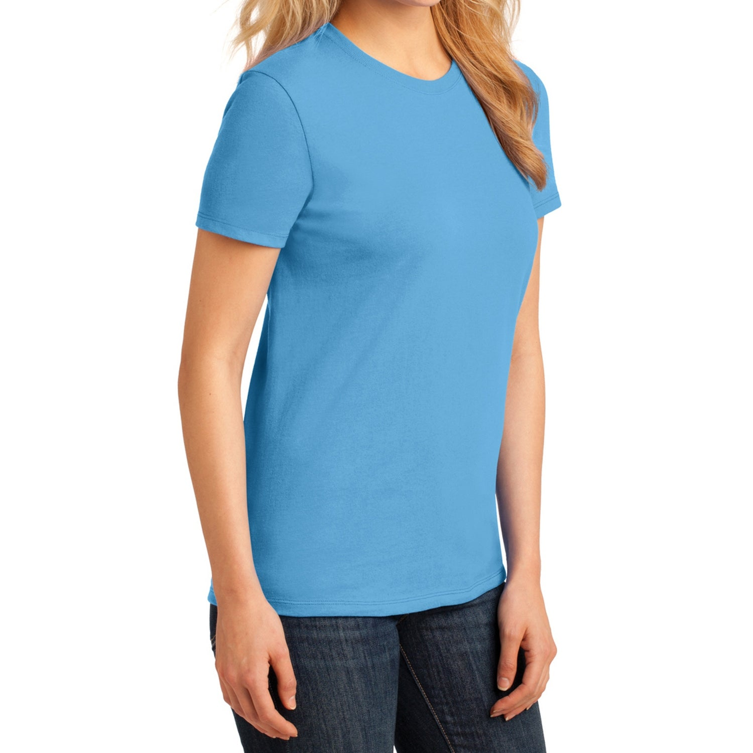 Ladies Core Cotton Tee -  Aquatic Blue