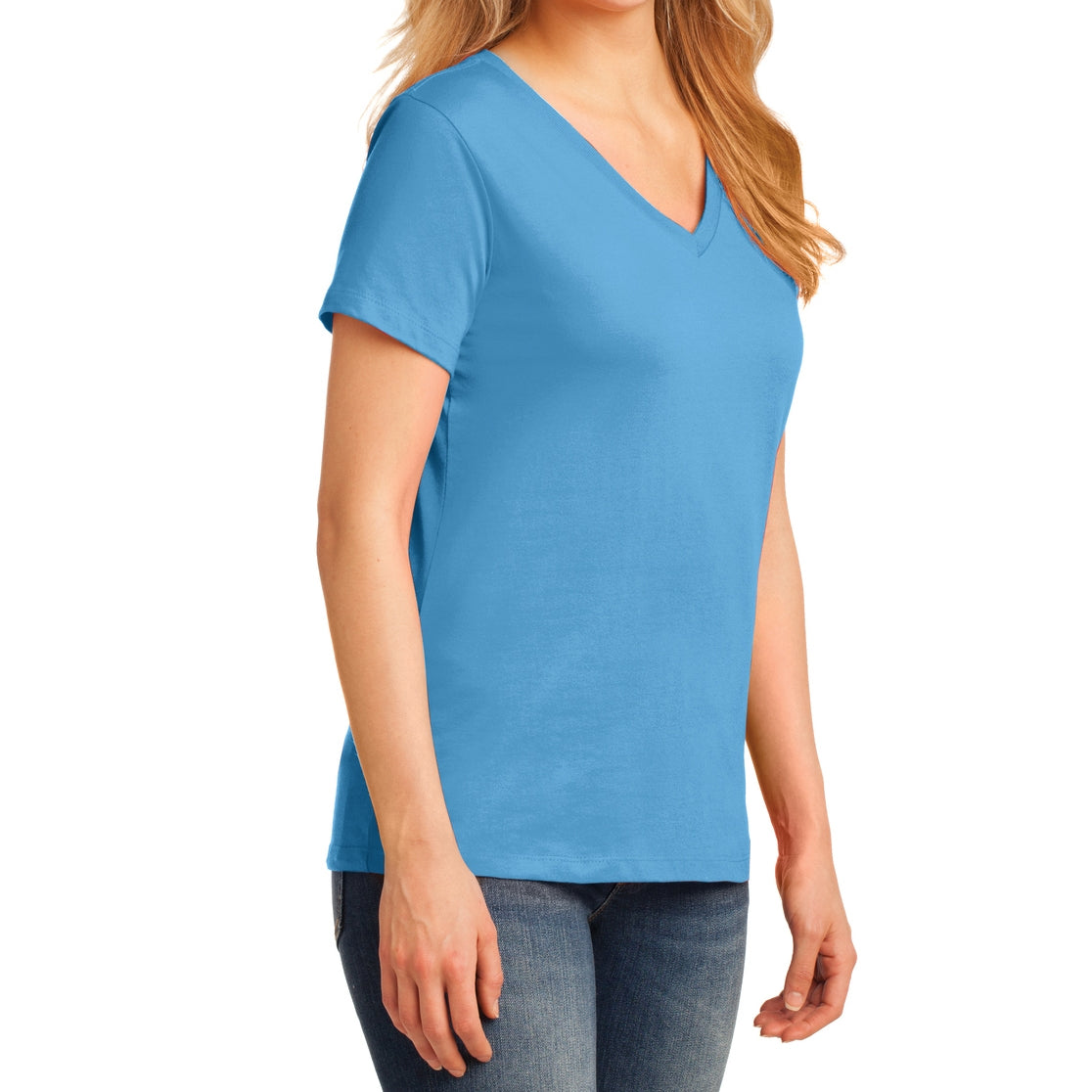 Women's Core Cotton V-Neck Tee Aquatic Blue - Side