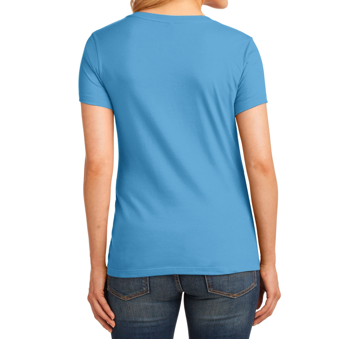 Women's Core Cotton V-Neck Tee Aquatic Blue - Back