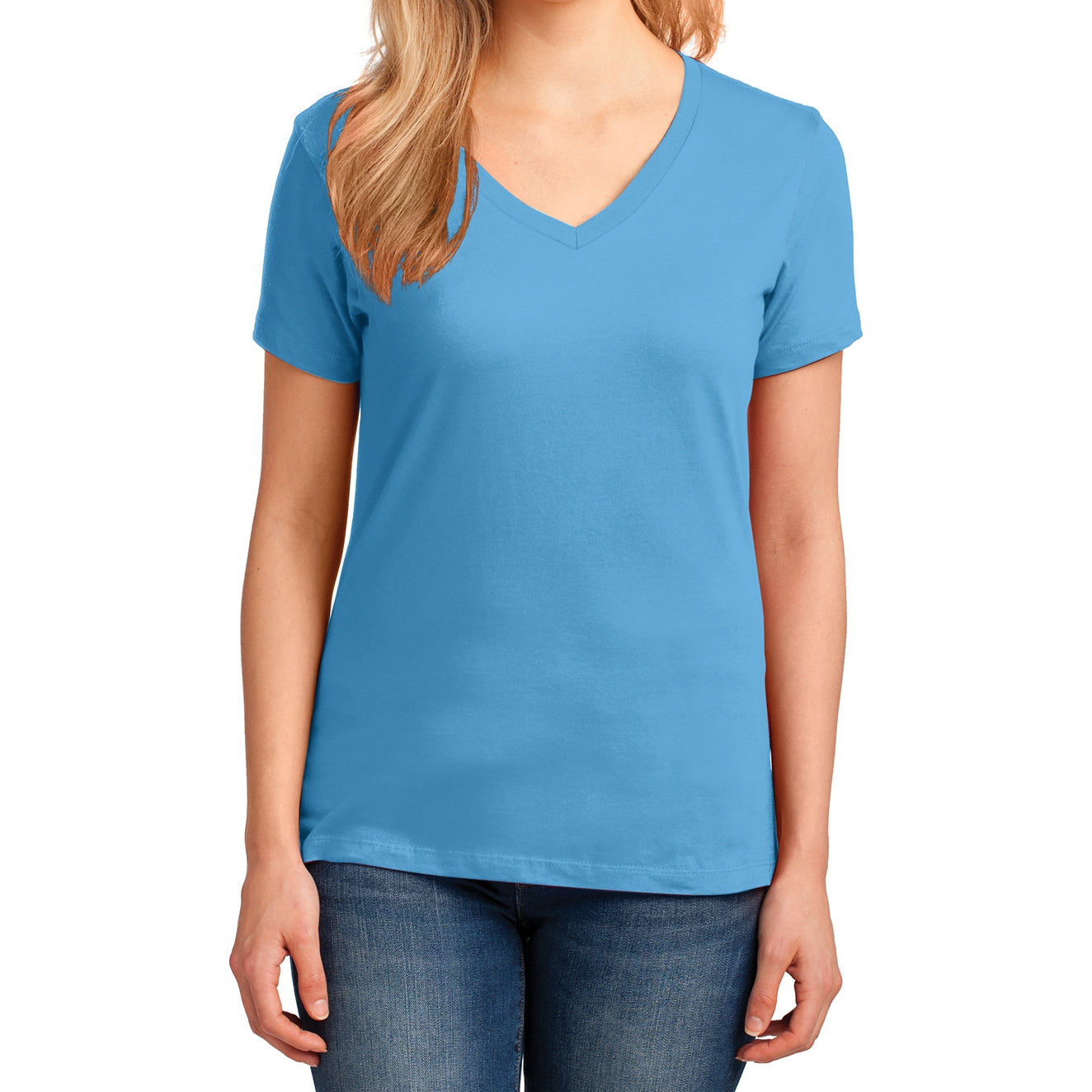 Women's Core Cotton V-Neck Tee Aquatic Blue - Front