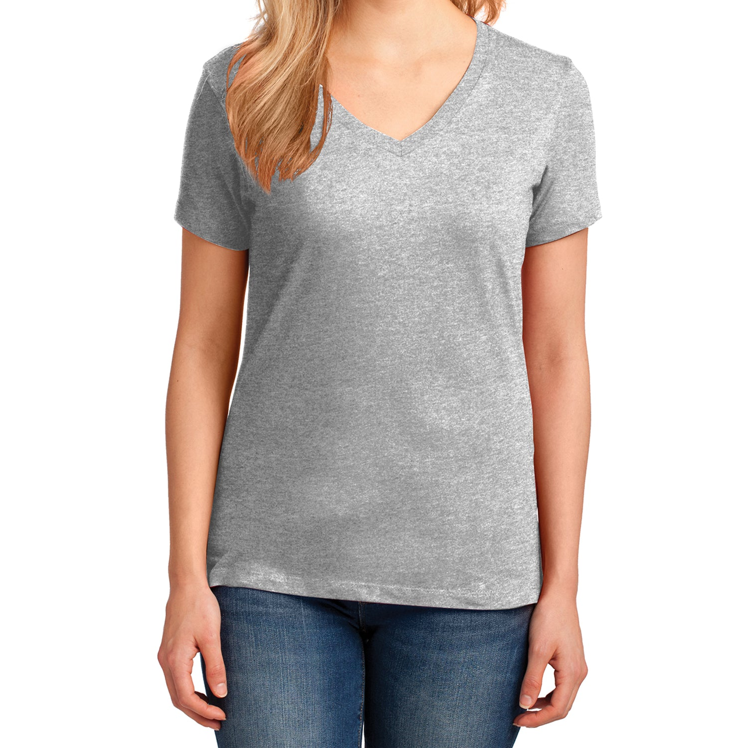 Women's Core Cotton V-Neck Tee Ash - Front