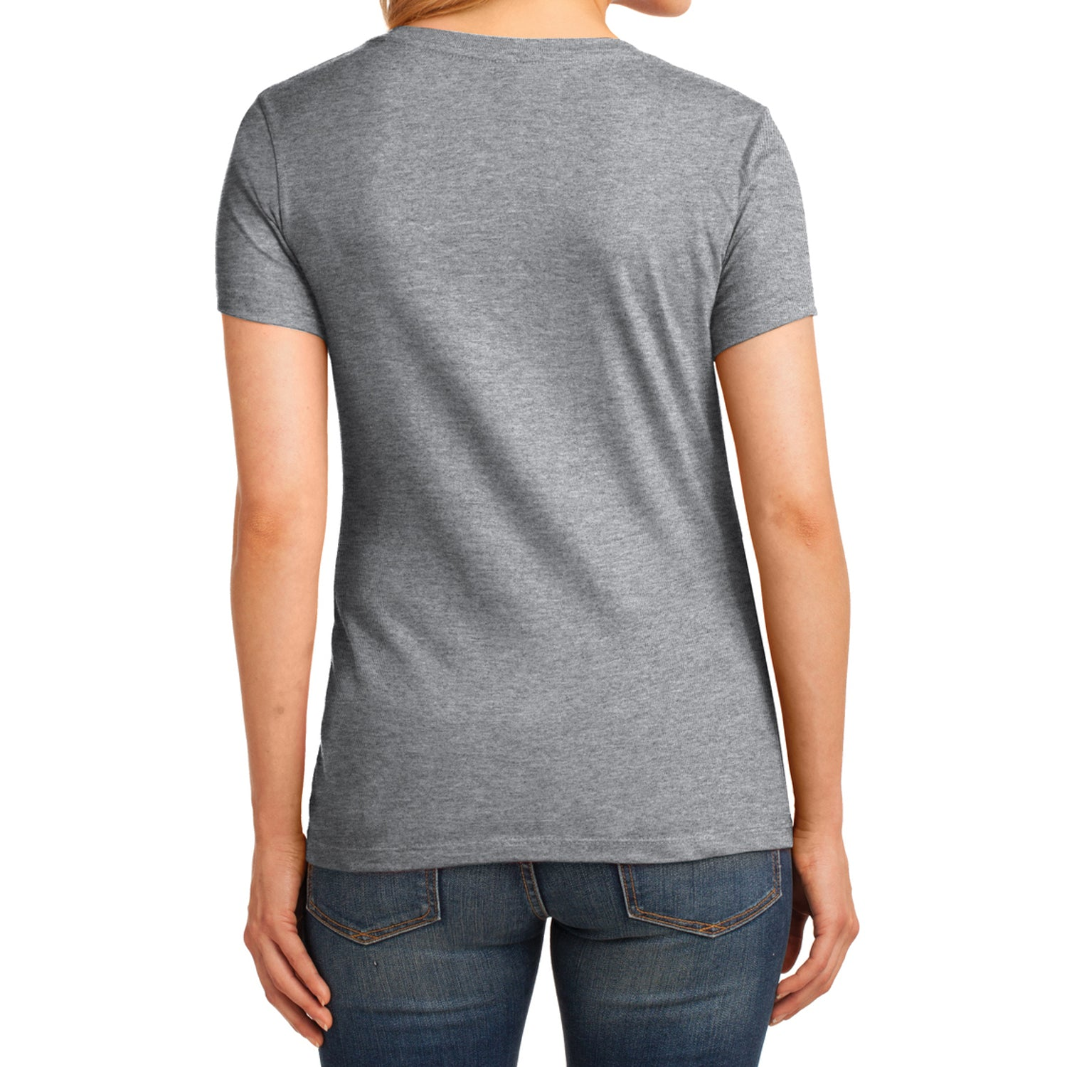 Women's Core Cotton V-Neck Tee Athletic Heather - Back
