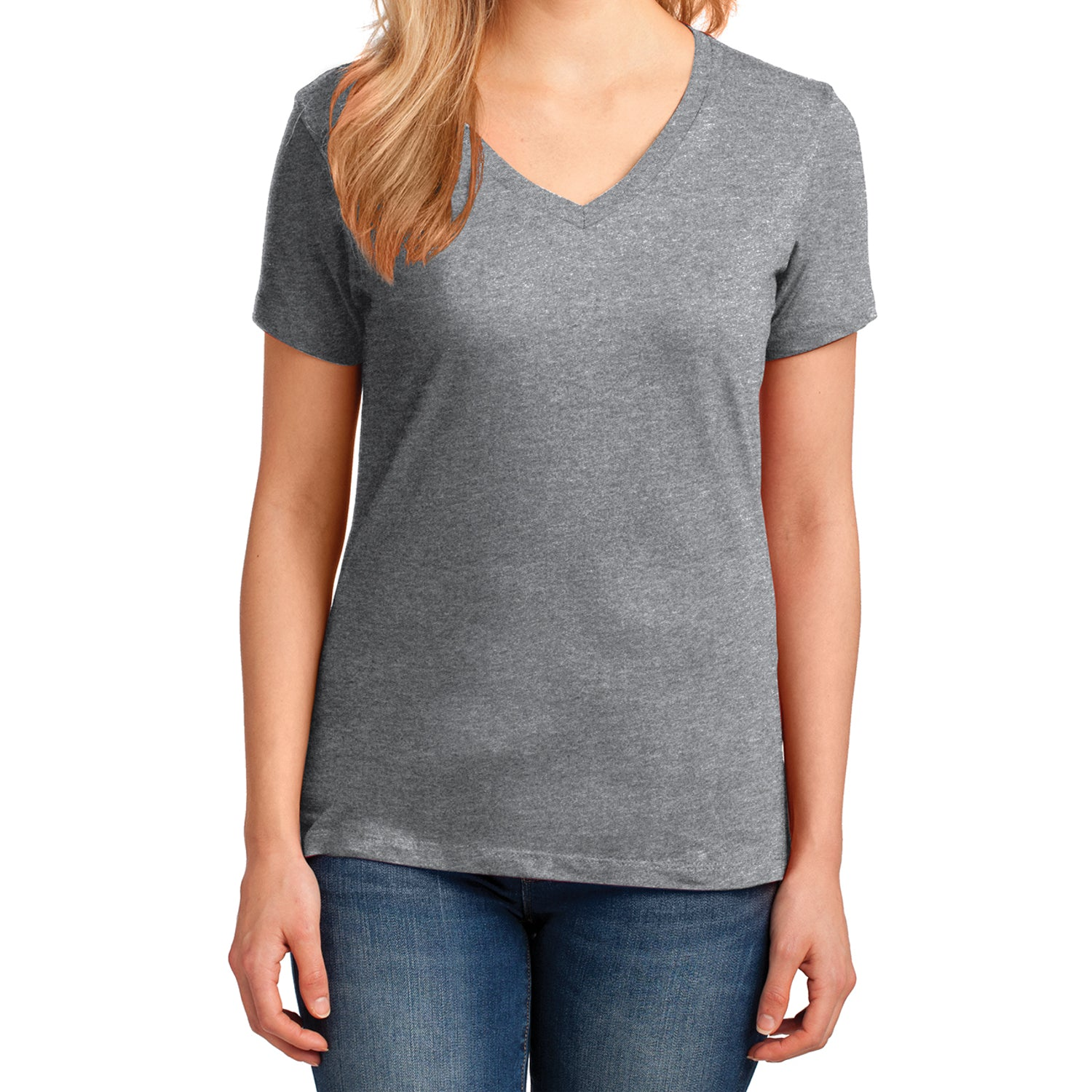 Women's Core Cotton V-Neck Tee Athletic Heather - Front