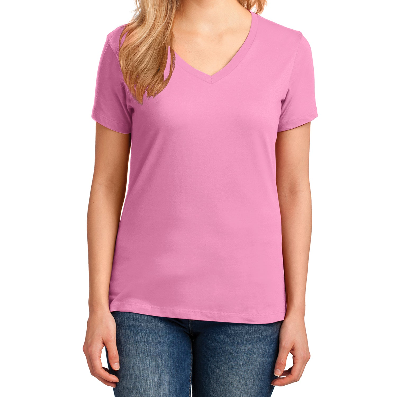 Women's Core Cotton V-Neck Tee Candy Pink - Front