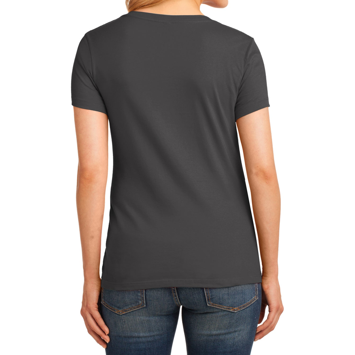 Women's Core Cotton V-Neck Tee Charcoal - Back