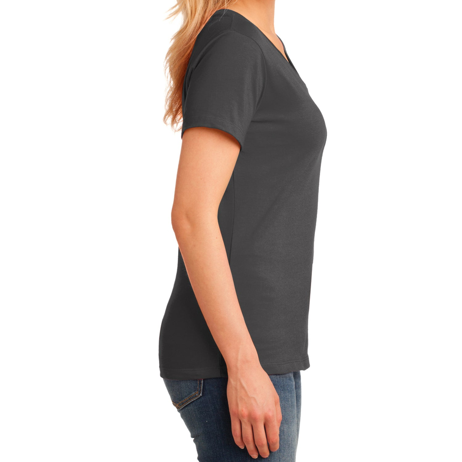 Women's Core Cotton V-Neck Tee Charcoal - Side